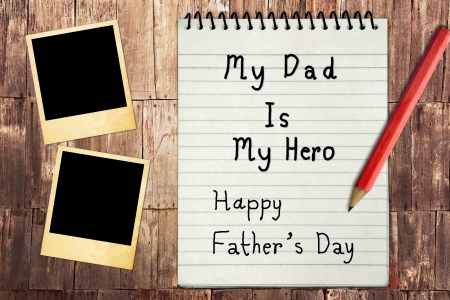 Happy Fathers Day Note Paper with instant photo frames photo