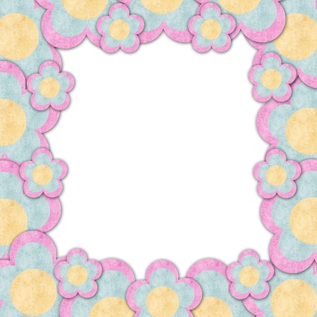 Paper flowers frame in white background isolated Stock Photo - 13779048