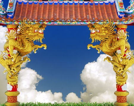 Chinese style dragon statue in temple Stock Photo - 13849543