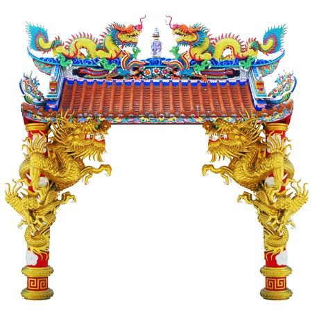 chinese temple: Chinese style dragon statue in temple Stock Photo