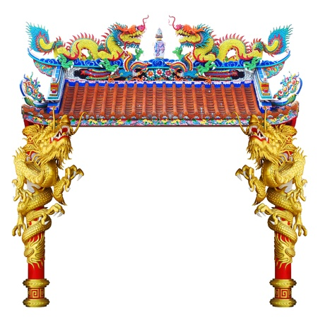 Chinese style dragon statue in temple Stock Photo