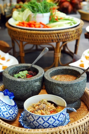 Stone mortar and pestle, thai cooking tool Stock Photo