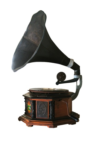 home audio: Old record player over white background  Retro image