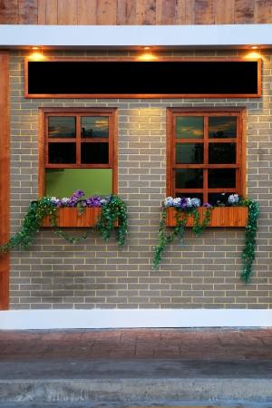 Window and flowerpot on wall photo