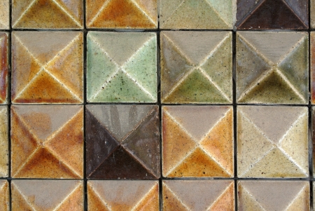 Brown mosaic tiles background texture photo