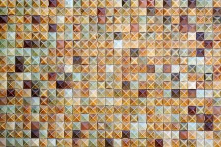 Brown mosaic tiles background texture photo