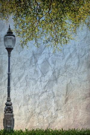 Réverbère Road Light Pole et congé vert sur papier grunge