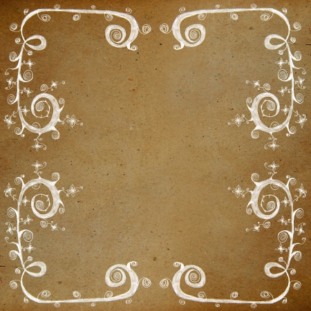 Drawing flower frame on old grunge paper background,vintage style photo