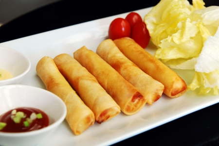 international food: Deep fried spring rolls
