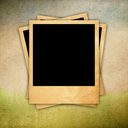 GRAINY: Retro photo frame on old paper