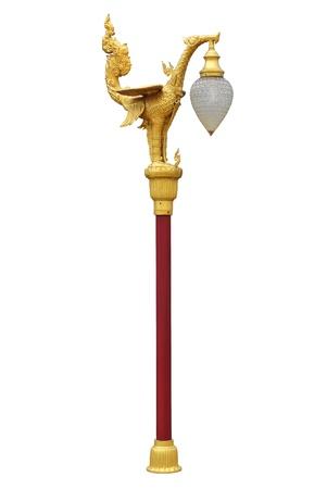 Lamp Post Lamppost Street Road Light Swan Pole isolated Thai art Stock Photo - 15204730