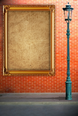 Lamp post street and frame on brick wall background photo