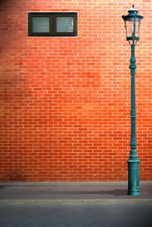 Lamp post street on brick wall background Stock Photo - 14957843