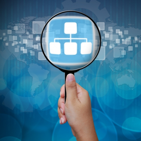 3639;Network button in Magnifying glass Stock Photo - 14957828