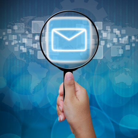 Mail button in Magnifying glass Stock Photo - 14957832