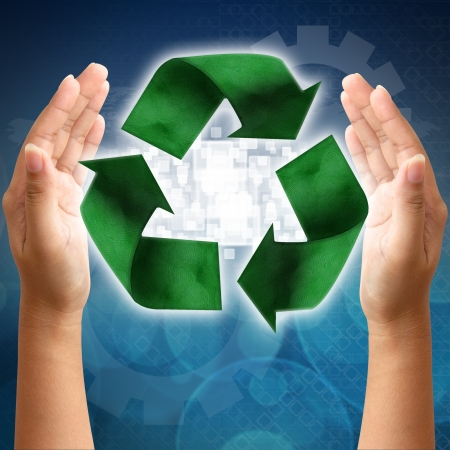 environmentalist tag: Recycling symbol on a woman hand