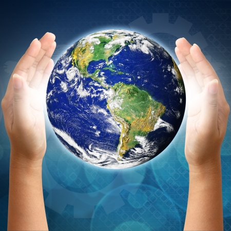environmentalist tag: Holding a earth on hands. Earth image provided by Nasa.