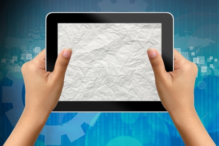 business woman tablet: Hand of business woman holding digital tablet with blank paper screen