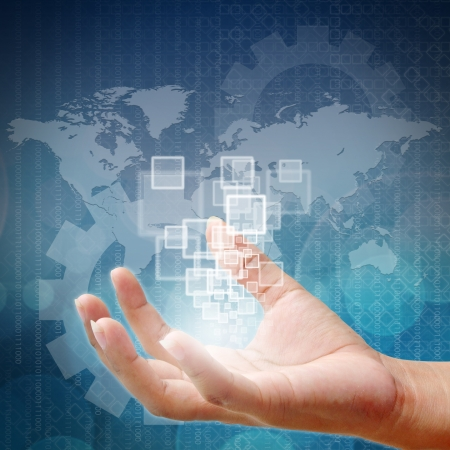Woman hand pushing on touch screen interface