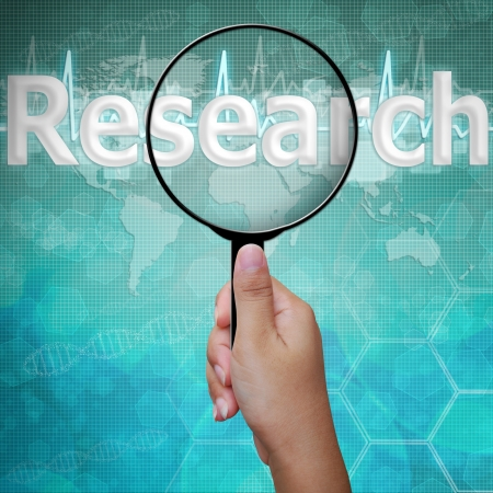 research icon: Research, word in Magnifying glass , background medical Stock Photo