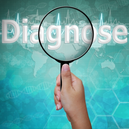 medical symbol: Diagnose, word in Magnifying glass , background medical