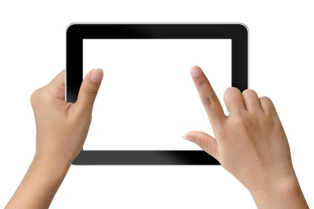tablet pc in hand: Hand woman holding and touching on tablet-pc Stock Photo