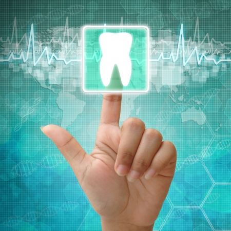 Hand press on tooth Symbol ,medical background photo
