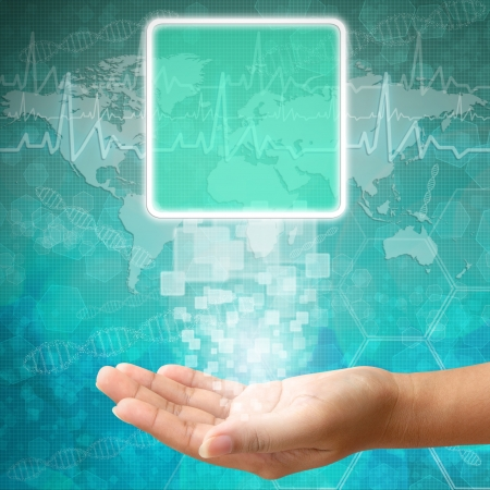 charting: Touch screen interface on Woman hand ,background medical