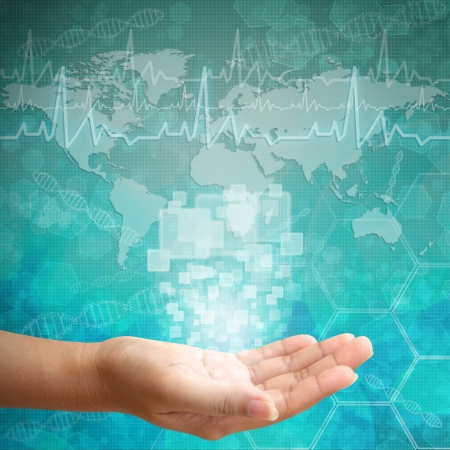 Interface à écran tactile à portée de main Femme, les antécédents médicaux Banque d'images - 15176423