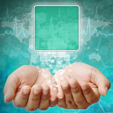Touch screen interface on Woman hand ,background medical photo