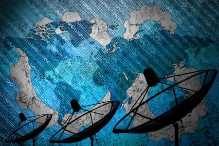tv network: Satellite dish on global background for Communication and technology