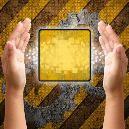 rejas de hierro: Interfaz de la pantalla táctil en el fondo industria mano, Foto de archivo