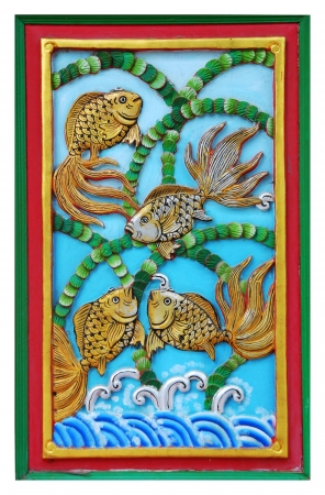 wood carving door: fish carve gold paint in temple wall