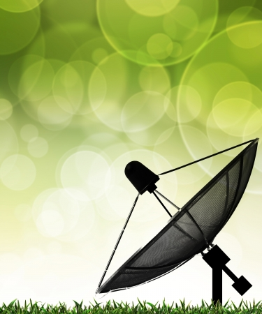 Satellite dish on global background for Communication and technology photo