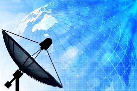 コミュニケーションおよび技術の世界的な背景に衛星放送受信アンテナ