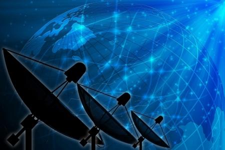Antenne parabolique sur fond mondiale pour la communication et la technologie Banque d'images - 15687082