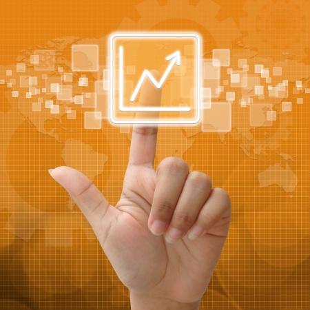 Icône de presse Business Graph pour concept d'entreprise