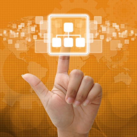 Dans icône de réseau de presse pour concept d'entreprise Banque d'images - 15917087