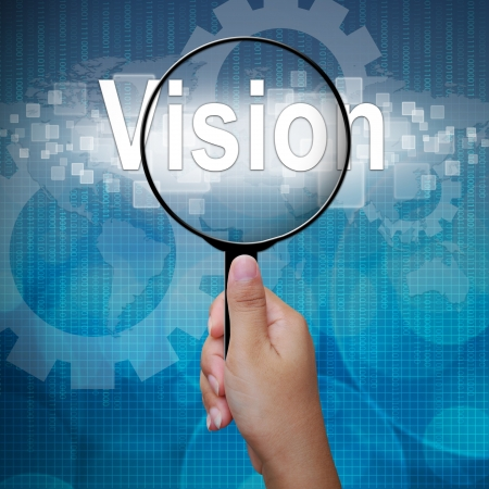 woman handle success: Vision, word in Magnifying glass ,business background Stock Photo