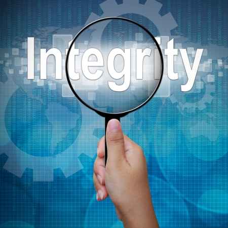 Integrity, word in Magnifying glass ,business background Stock Photo - 15917099