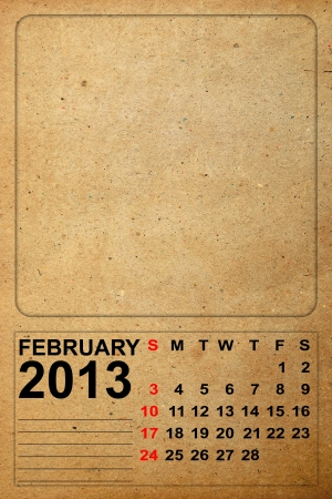 2013 Calendar, February on empty old paper photo