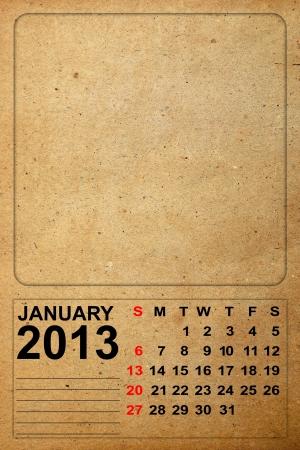 2013 Calendar, January on empty old paper photo