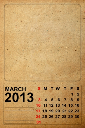 2013 Calendar, March on empty old paper photo