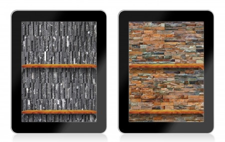 ibook: Empty  book Shelf background for ebook in tablet pc Stock Photo