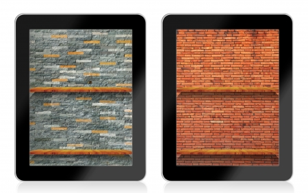 Empty  book Shelf background for ebook in tablet pc photo