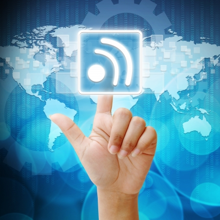 In press Wireless icon on business background blue color photo