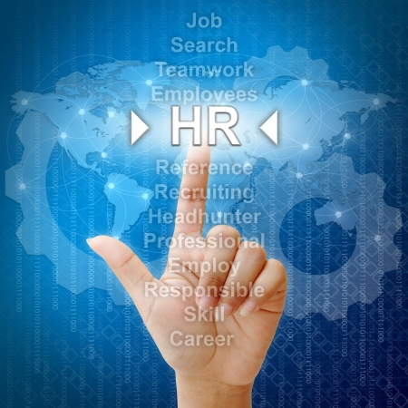 identity management: HR,Business concept in word for Human resources Stock Photo