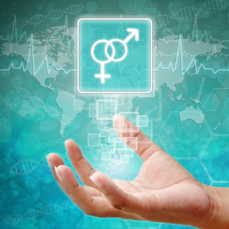 holography: Male and female Symbol on hand ,medical background