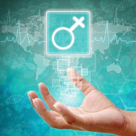holography: Female Symbol on hand ,medical background