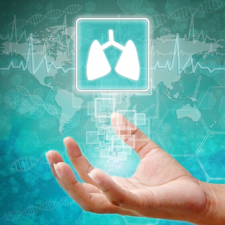 holography: Lung Symbol on hand ,medical background Stock Photo